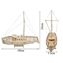 1/30 Boat Model Assembly Wooden Sailboat DIY Wooden Kit Puzzle Toy Sailing Model Ship Gift for Children and Adult