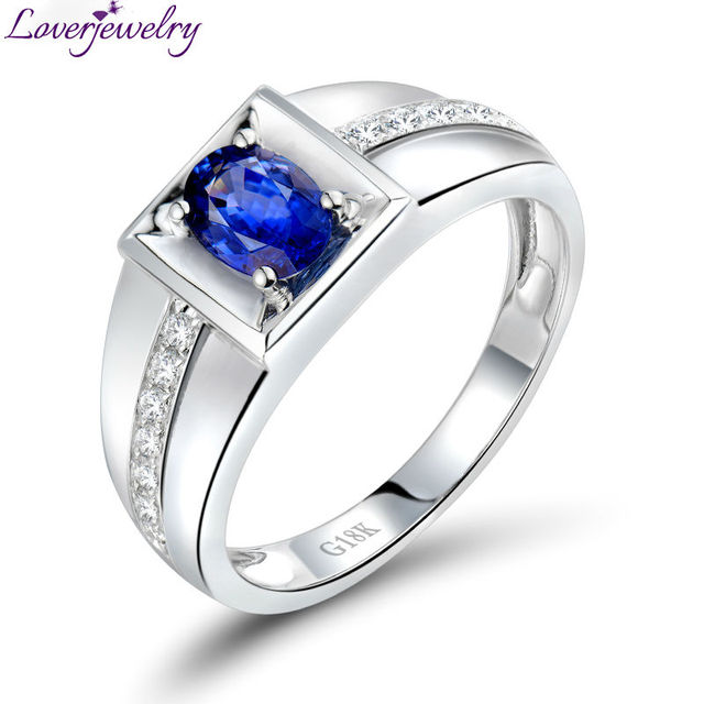 LOVERJEWELRY Man Sapphire Ring Solid 18Kt White Gold Natural Diamond Blue Sapphire Men's Ring Oval 4x6mm Gemstone For Husband