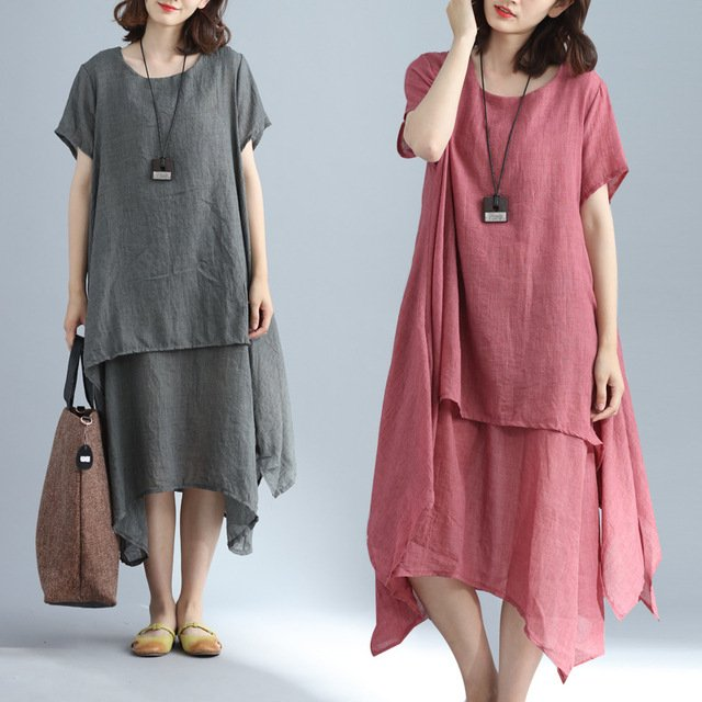 Wholesale New Comfortable Short Sleeves Women Dress O-neck Linen Cotton Lady Dress Fashion Warm Mid-calf Loose Dress IBD002