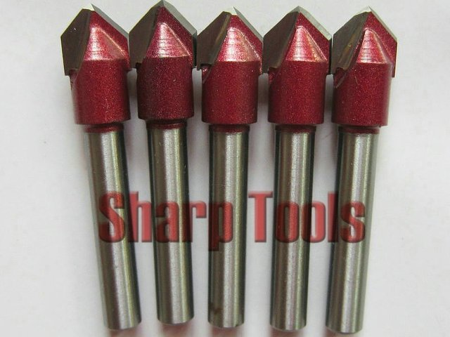 5 pcs 6MM 90 Angle 10MM Cutter Width V Shape Milling Cutters CNC Router Bits Wood Engraving Tools on 3D Carving Cutting Machine