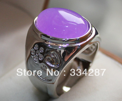 6 colors! fine men/women's purple/blue/red/pink jadestone/opal love ring