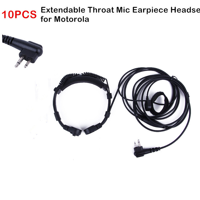 10PCS Extendable Throat Air Tube Earpiece Microphone Mic Headset PTT for Motorola Radio GP88 GP300 EP450 Mag One A8 CP200 CP185