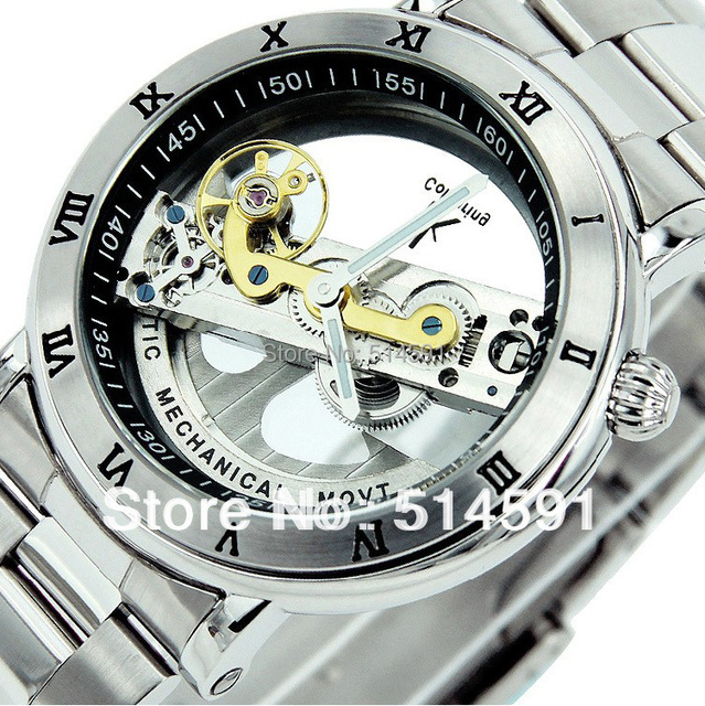 Top brand 2 color men's transparent skeleton automatic mechanical watch full stainless steel self wind watch retail wholesale