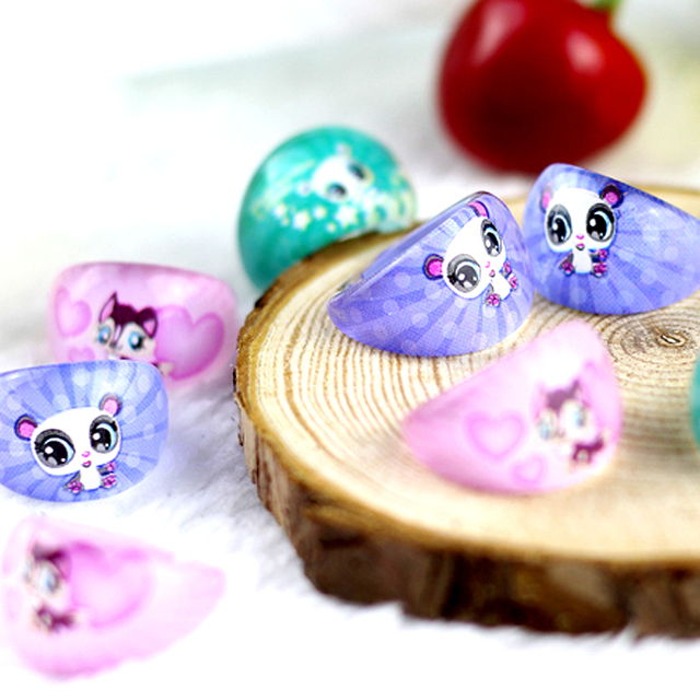 50pcs lovely animation cartoon Children/Kids Cartoon Squirrel Acrylic Lucite Resin Rings Free Shipping