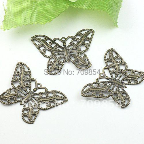 Free Ship!!! antique bronze tone plated small butterfly floret applique/butterfly filigree wrap connectors