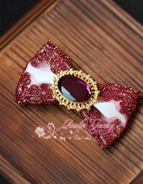 Princess sweet lolita hair accessories Fashion vintage palace golden embroidery lace bow  gem hairpin hair clip burgundy BM09