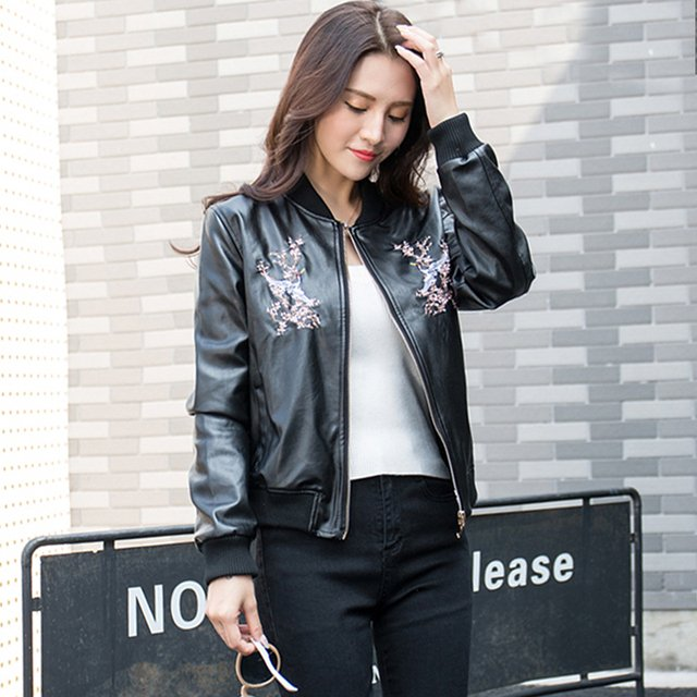 2018 Spring Women's Leather Jacket Red-crowned Crane Embroidery Pattern Slim Short Jacket Pu Leather Student Baseball Jacket XL