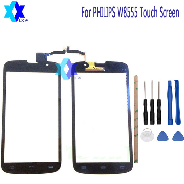 For PHILIPS W8555 Touch Screen Original Guarantee Original New Glass Panel Touch Screen 5.0 inch Tools+Adhesive Stock