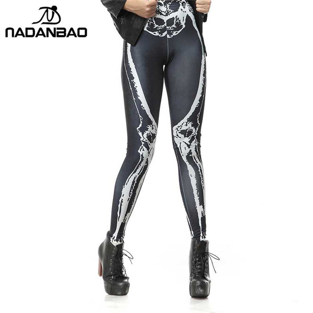 NADANBAO Hot Style Sexy Legging Black Leggins Leg Bone Skeleton Skull 3d Digital Printed Legins Women Leggings Pants