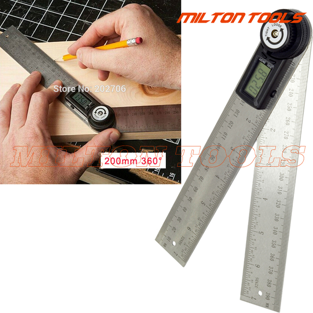 2 in 1 200mm Digital protractor angle finder meter 2Rulers 400mm 360 degree electronic Protractor Inclinometer Goniometer Level