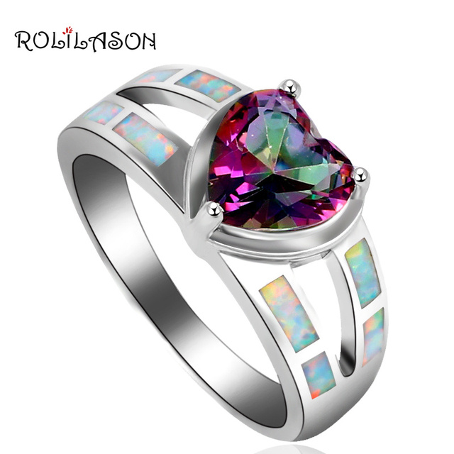 Zircon Jewelry for Women silver plated White Fire Opal Party Fashion Jewelry Wholesale & Retail Rings OR759