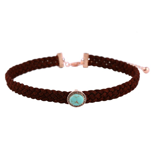 Bulk Price Women Trendy Leather Suede Braided Choker Necklace Blue Oval Stone Charm Gothic Brand Jewelry Necklace