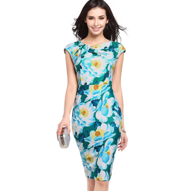 women summer dress 2020 hot sell through Europe and America fashion printing Slim was large and medium size pencil dresses 734
