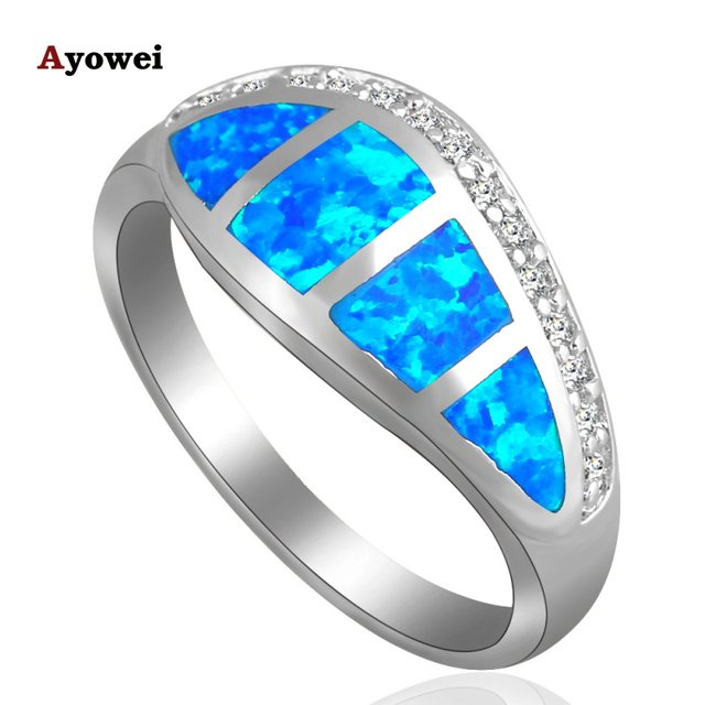Vintage style Shining White Zircon Fashion Jewelry Blue Fire Opal silver color Stamped Ring for women USA Size #6#7#8#9 OR685A