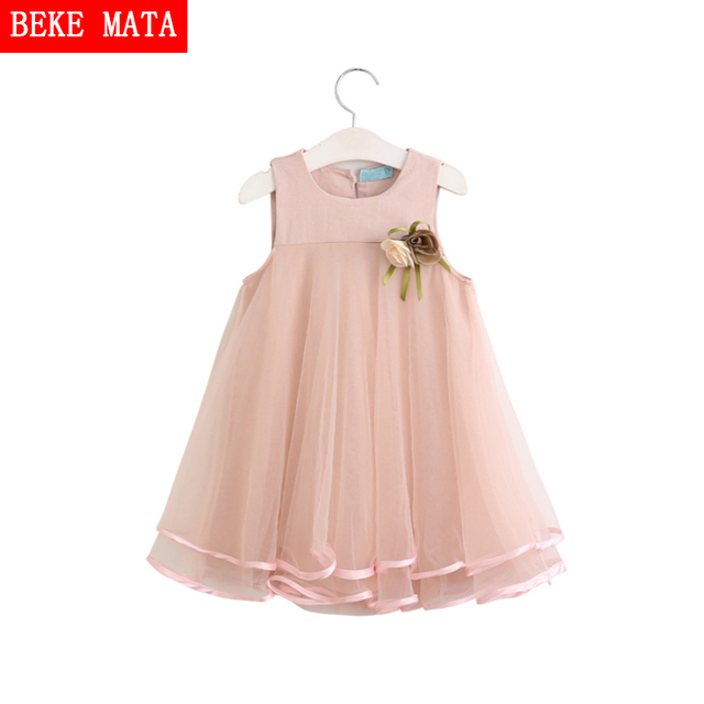 BEKE MATA Kids Girls Dresses 2017 Summer Princess Girl Dress Sleeveless Appliques Floral Toddler Girl Clothes Party Dress 3-8Y