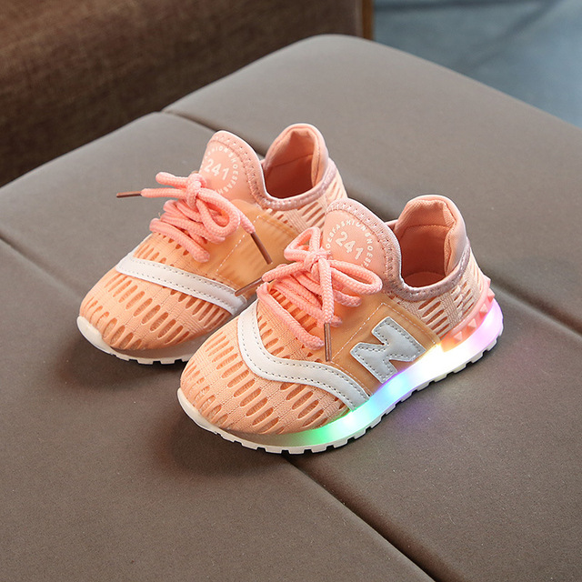 Air Mesh Kids Glowing Sneakers with LED light fashion breathable soft bottom Babys Casual Shoes Toddler Boys Girls LED Shoes
