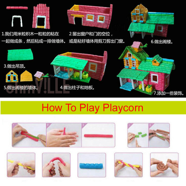 Beautiful Cabin Home, PLAYCORN - Safe, Non-Toxic, 100% Biodegradable And Eco-Friendly Handcraft Materials New Educational Toy.