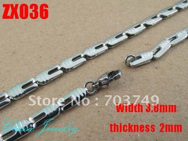 Wholesale - 3.8mm stainless steel seashell shape chain 550mm Jewelry women's necklace chains 50pcs ZX036