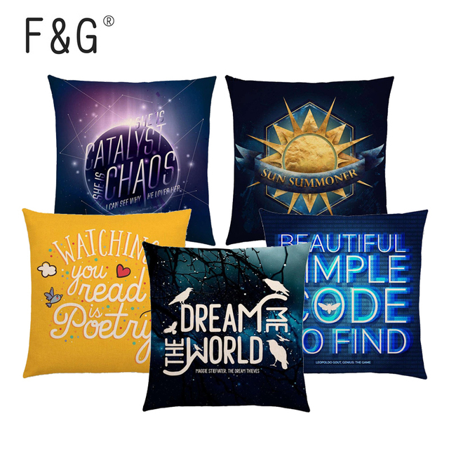 Warm Words Letters Cushion Cover Meaningful Proverb Dream Game Sun Neon Lights Home Decoration Car Sofa Pillowcase