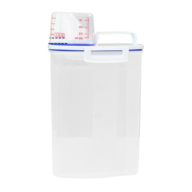 Portable Size Transparent Plastic Kitchen Food Cereal Container Grain Storage Case Bean Bin Rice Storage Box