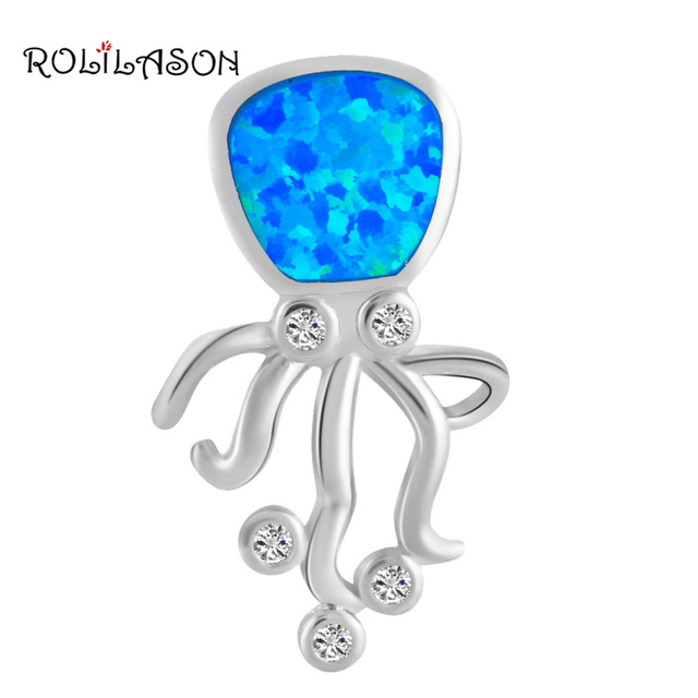 Top quality Wholesale Retail Excellent Women's Blue Fire Opal Silver Stamped Necklace Pendants Fashion jewelry OP21