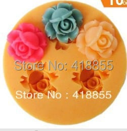 PRZY Handmade Fondant Mold DIY Mold Cake Decorating Silica Gel Hot Sale!!!new 3D 3-rose Flower(f0024) Silicone Mini 1.6cm Moulds