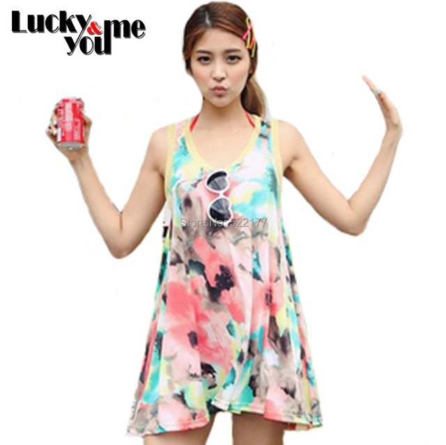 Women Summer Fashion Tie-dyeing Bohemian Colourfull Loose Dress Female Cotton Voile Patchwork O-Neck Halter Beach Wear Dresses