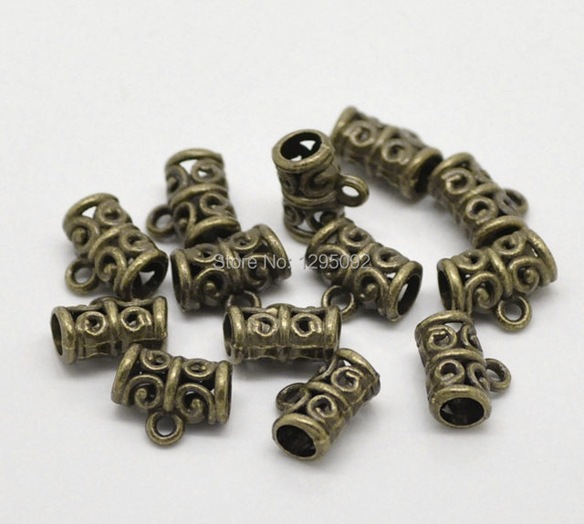 "100Pcs Bronze Tone Floral Carved Hollow Carved Bail Beads Fashion Jewelry Findings Charms Wholesales 11x9mm(3/8""x3/8"")"