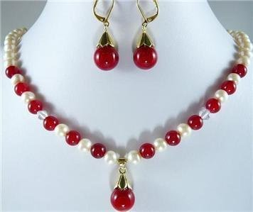 Wonderful Nobility Fine Wedding Jewelry Lucky Women's 8mm Pretty Red gem and White Pearl Necklace Earring Set 925 noble lady's