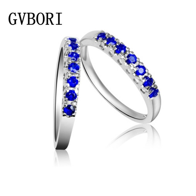 New Style! solo row sapphire Colored Gemstones 18K White Gold Ring Inlaid With Natural Sapphire Fine Jewelry FREE SHIPPING