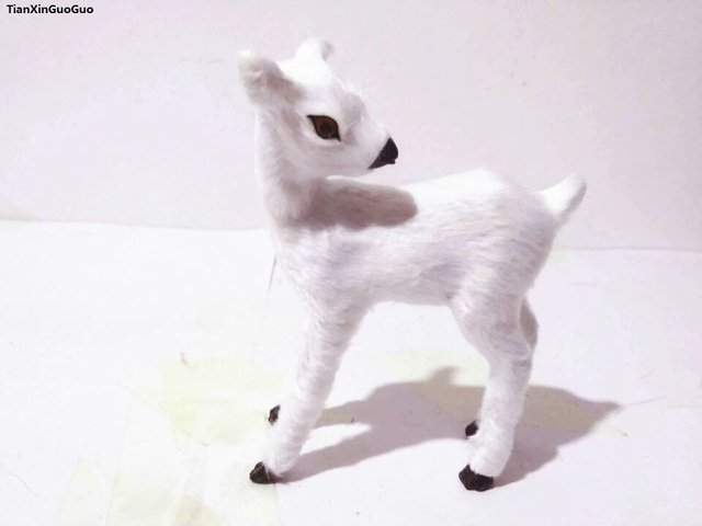 simulation sika deer about 10x4x12cm hard model toy polyethylene& furs white deer handicraft home decoration gift s1542