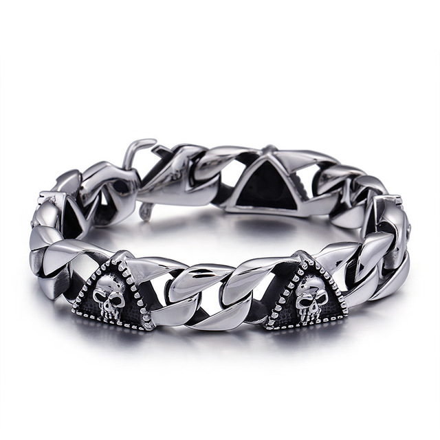 New Arrival High Quality Stainless Steel Punk Skull Bracelet Personality Fashion Men Jewelry Male Gothic Jewelry