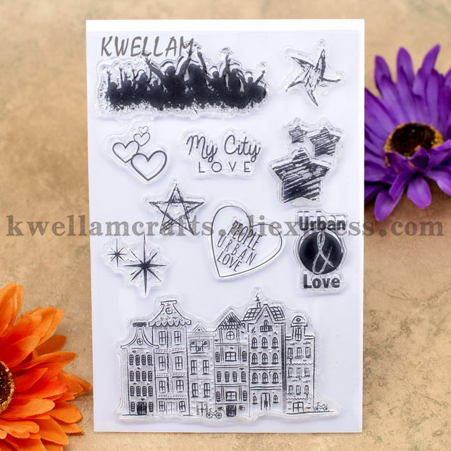 My City LOVE PEOPLE URBAN LOVE Scrapbook DIY photo cards account rubber stamp clear stamp transparent stamp 10x15cm KW7030103