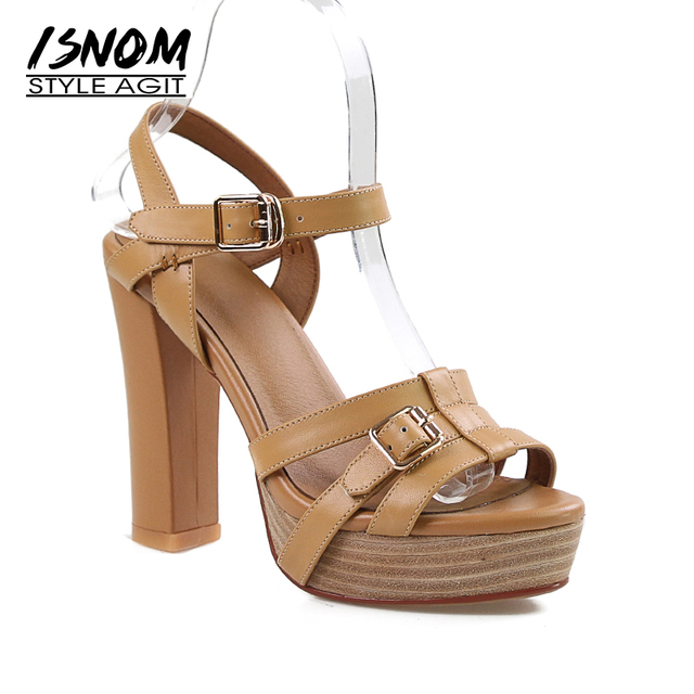 ISNOM New Summer Gladiator High Heels Sandals Women Open Toe Sandals Shoes Platform Footwear Leather 2018 Office Ladies Shoes