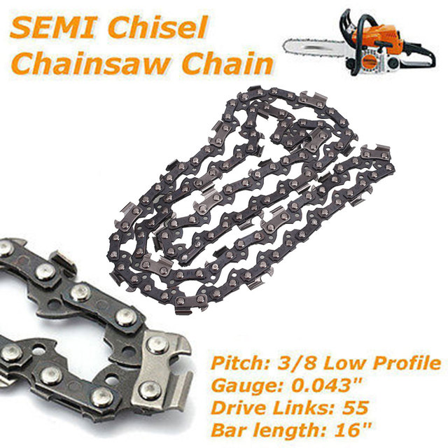 Chainsaw Chain Semi Chisel Professional Tooth Chain 16 Inch Replacement Cutting Home