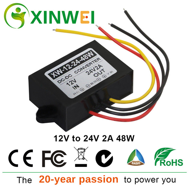 XINWEI DC-DC Converter 12V To 24V 2A 48W Supply Power Step Up  Module Boost  Inverters & Converters For Audio And More