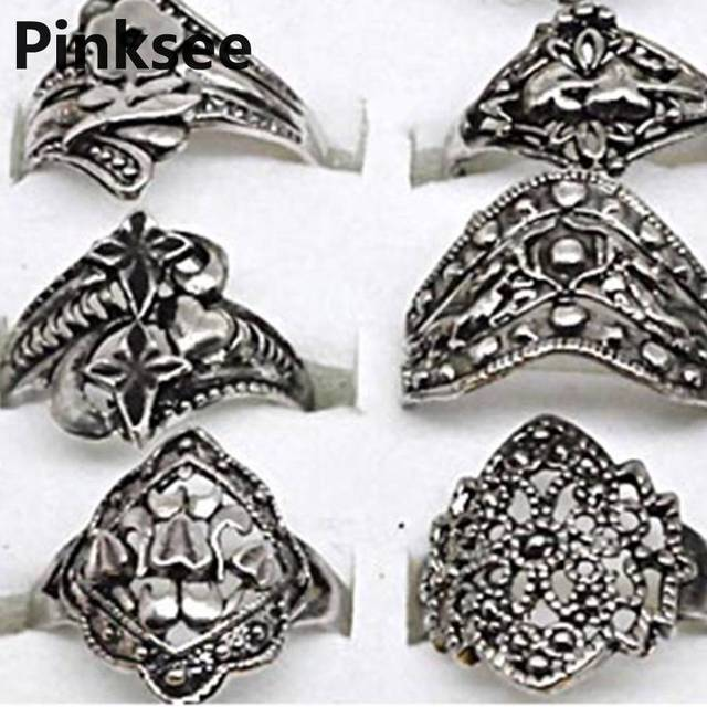 20pcs Vintage Tibet Silver Ring Flower Charm Ring Women Jewelry wholesale jewelry mixed lots Free shipping