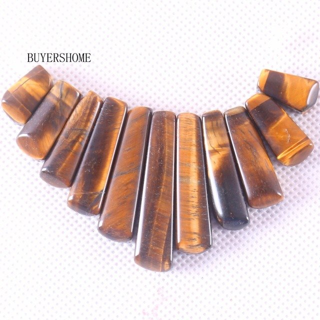 Free Shipping Natural Stone Fit Necklace for Women Jewelry Gift Gold Tiger's Eye Beads Pendant Set 11PCS K062