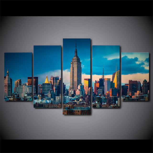 5 Pcs New York City Empire State Building Canvas HD Printed Poster Frame Painting Modular Wall Art Pictures Living Room