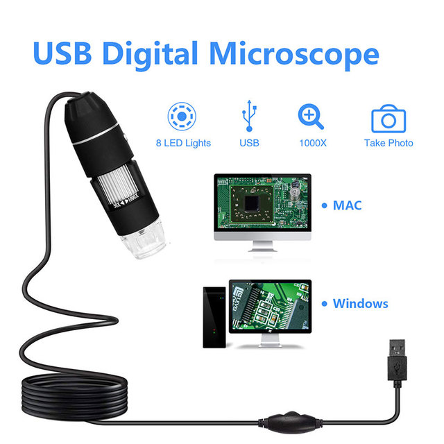 Digital Microscope Endoscope Durable Black ABS Photos Real-Time Video Inspection Camera Computers