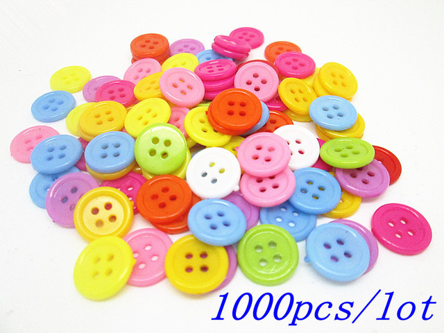 1000pcs/lot Plastic Mixed 12mm Round 4 Holes Buttons Embellishments Cardmaking Scrapbooking