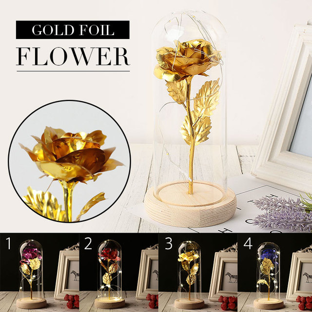 LED Eternal Flower Glass Cover 24K Gold Party Immortality Gift Preserved Flower Wedding Decoration Gold Foil Rose Romantic