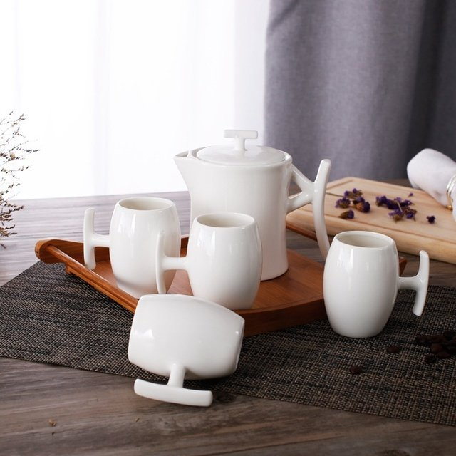 Concise Ceramics Tea Set Decorative Porcelain Coffee Cups and Pot China Drinkware Ornament Art Craft for Home, Office and Cafe