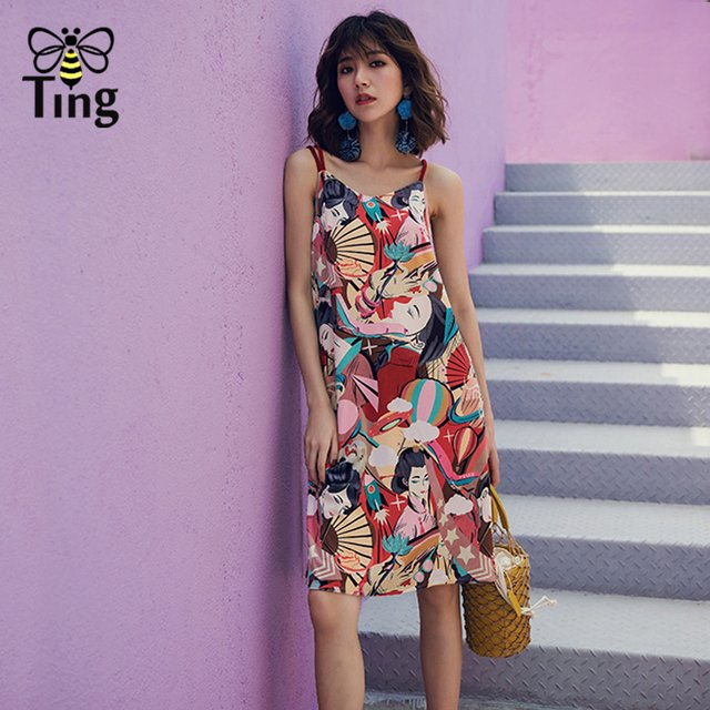 Tingfly Fashion Runway Designer Dress Women's Sexy cool Strap Floral Character Printed Straight Dress Party Dresses summer