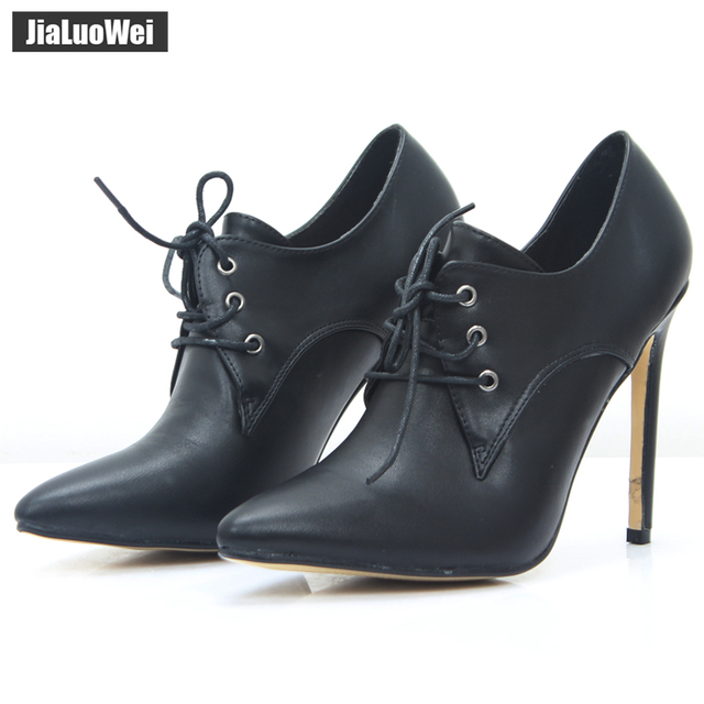 jialuowei patent leather 12cm high heels Sexy women pumps thin heels Classics Lace-Up Pointed Toe woman Party Wedding shoes