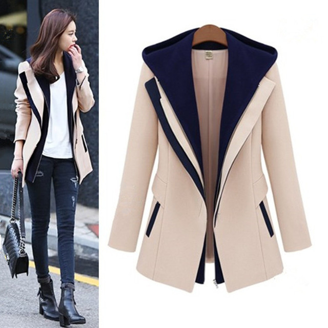 New Autumn Winter Women Coats Fashion Vestidos False Two-Piece Cute Contrast Color Slim Polyester Coat For Women Outerwear