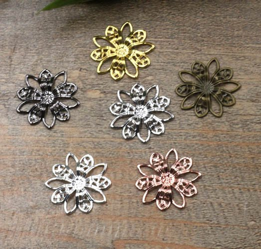 19mm Vintage Filigree Circle Flower Wraps Links European Charms Hair Clasp Bu Yao Accessories DIY Findings Multi-Color Plated