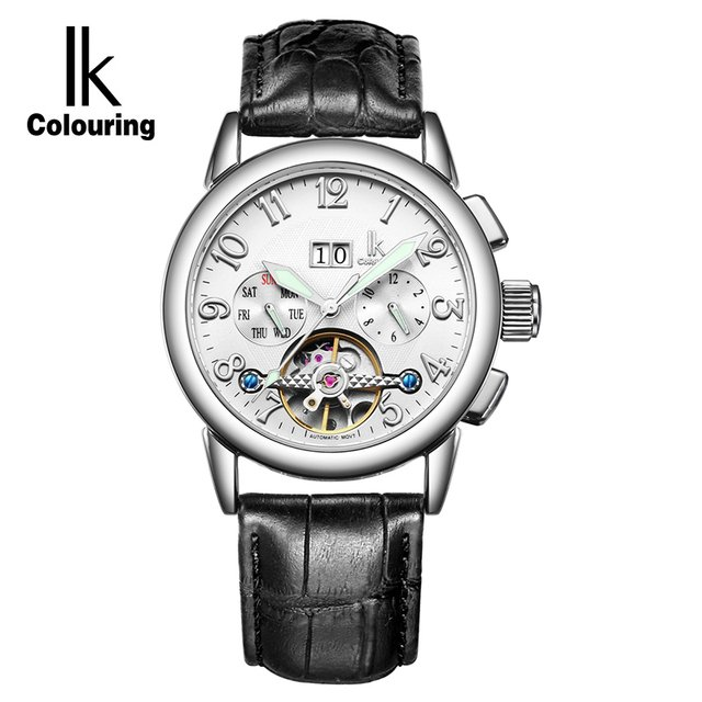 IK Waterproof Sport Automatic Mechanical Watches Men Luxury Brand Casual Genuine Leather Skeleton Watch Clock Men's Watches