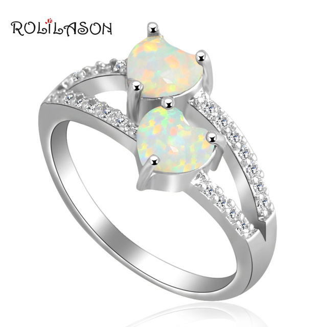 Unique gift for lover Romantic Two hearts style White Fire Opal silver plated Stamped  Jewelry Rings USA #6#7#7.5#8.5#9 OR707