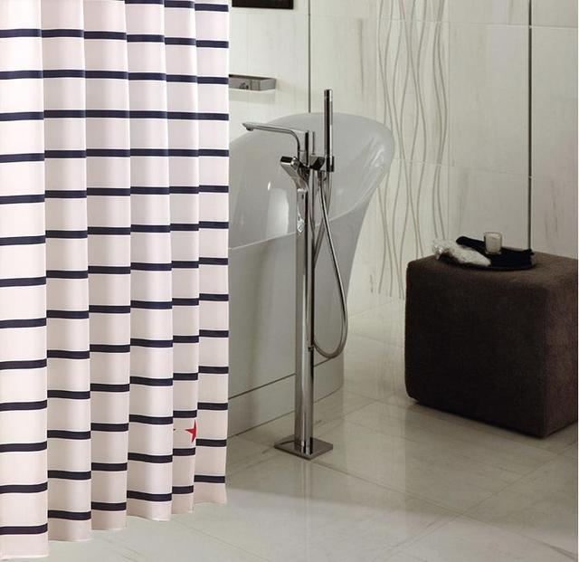 FREE SHIPPING Stripe thickening waterproof soft type terylene shower curtain 180*180CM